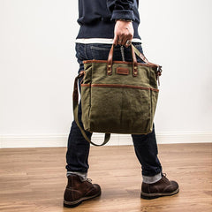 Canvas Leather Mens Side Bag Army Green 12'' Tote Postman Bag Messenger Bag for Men
