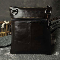 Mens Leather Small Side Bag Messenger Bag Courier bag for Men