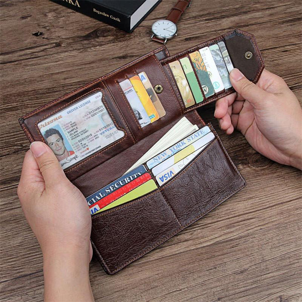 Simple Brown Leather Long Wallet for Men Bifold Long Wallet Brown Multi-Cards Wallet For Men