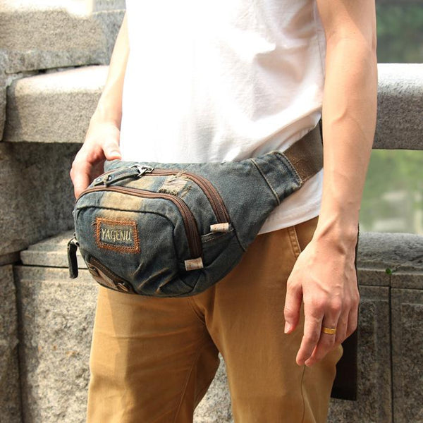Fashion Denim Denim Blue Mens Fanny Pack Waist Bag Jeans Blue Canvas Hip Bag For Men