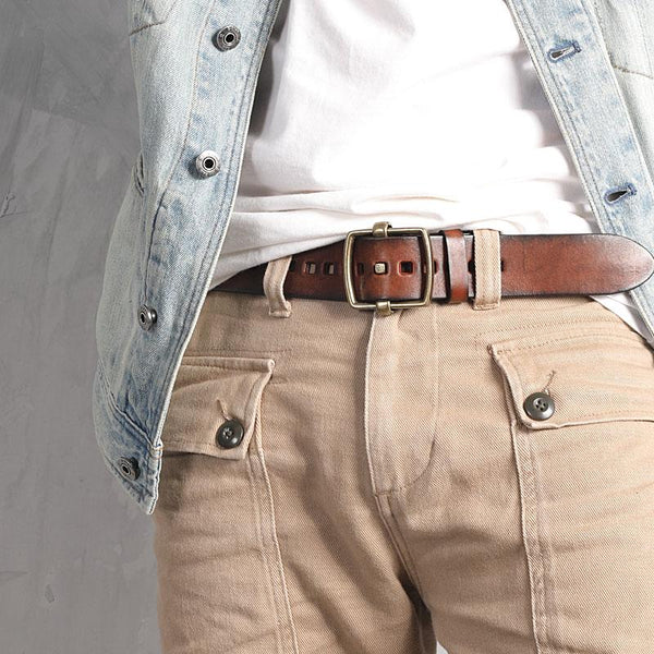 Genuine Leather Black Hollow Fashion Belt Khaki Belt Brown Long Belt Slim Belt for Men