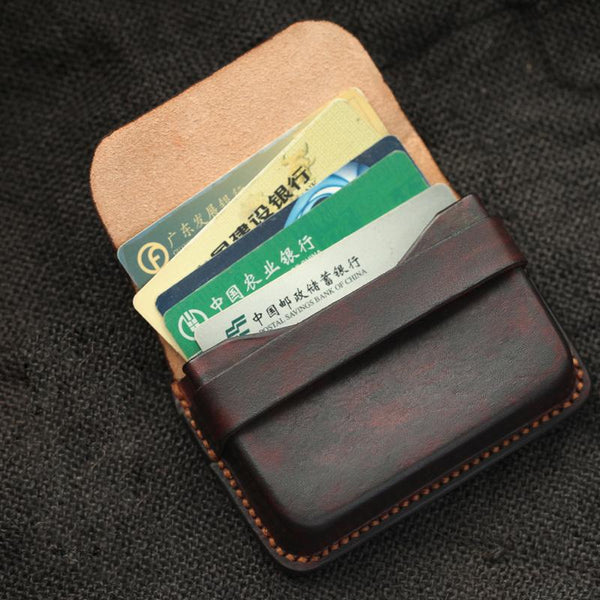 Cool Coffee Leather Mens Business Card Holder Coin Purse Small Change Wallet For Men