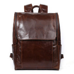 Cool Leather Black Mens Large Brown Backpacks Travel Backpack 14inch Laptop Backpack for Men