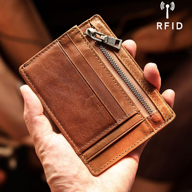 Ultra Thin Leather Mens Front Pocket Wallet Slim billfold Wallet License Small Wallet For Men