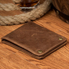 Dark Brown Cool Leather Mens Bifold Thin Front Pocket billfold Wallet Black Slim Small Wallet for Men