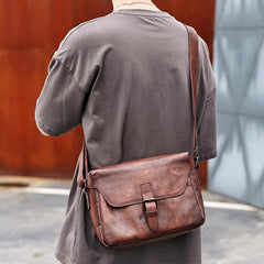 Cool Brown Men Leather Camera Side Bag Tan SLR Camera Leather Cube Messenger bag For Men