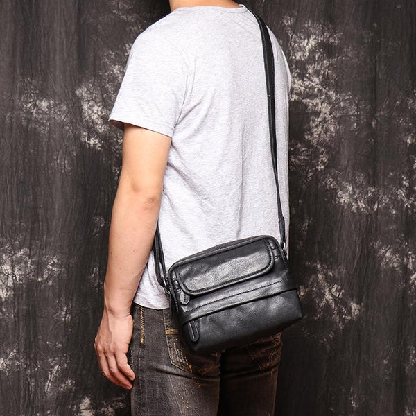 Black LEATHER MENS Small SIDE BAG COURIER BAG Black Small MESSENGER BAG FOR MEN