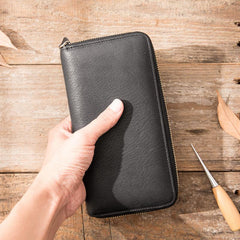 Cool Black Leather Mens Zipper Clutch Wallet Long Wallet Black Cell Phone Long Wallet for Men
