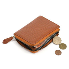 Leather Mens Zipper Small Wallet Slim Wallet Front Pocket Wallet Card Wallet for Men