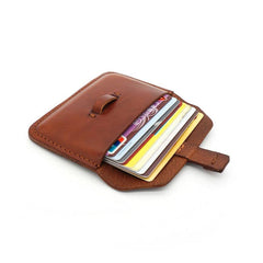 Handmade Leather Mens Front Pocket Wallet Card Wallets Small Change Wallets for Men