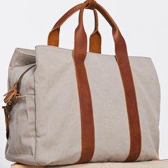 Mens Leather Canvas Travel Bag Canvas Handbag Canvas Weekender Bag for Men