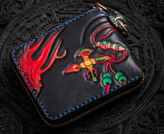 Handmade Leather Chinese Lion Tooled Mens billfold Wallet Cool Chain Wallet Biker Wallet for Men
