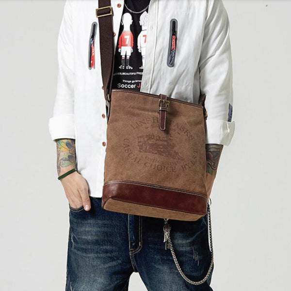 Fashion Vertical Canvas Leather Mens Courier Bag Crossbody Bag Messenger Bags Khaki Canvas Postman Bag for Men