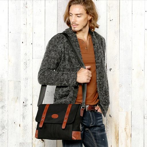 Casual Canvas Leather Mens Khaki Side Bag Messenger Bag Black Canvas Courier Bag for Men