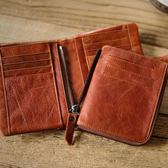 Cool Brown Leather Mens billfold Wallet Bifold SMall Wallet Black Front Pocket Wallet For Men