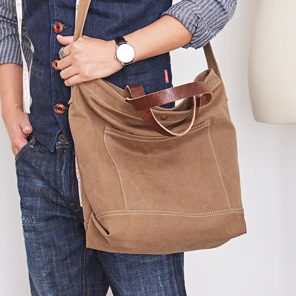 Canvas Cool Mens Coffee Messenger Tote Bag Canvas Handbag Messenger Bag Canvas Tote for Men