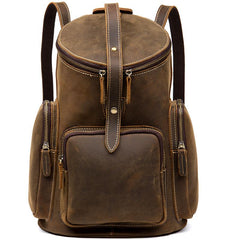 Brown Business Mens Leather 12-inches Computer Backpacks Cool Travel Backpacks School Backpacks for men