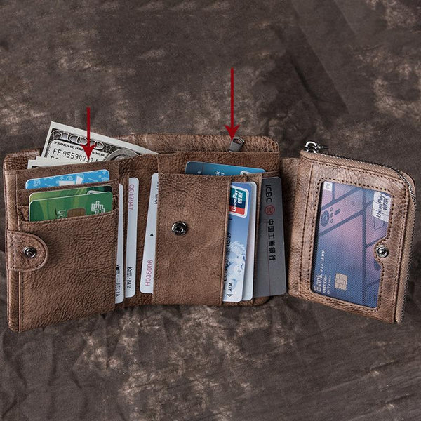 Cool Leather Brown Men's Zipper Blue billfold Small Wallet Trifold Wallet Card Wallet For Men