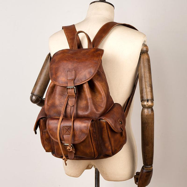 Fashion Brown Mens Leather 15inchs Computer Backpack Cool Travel Backpack School Backpack for men