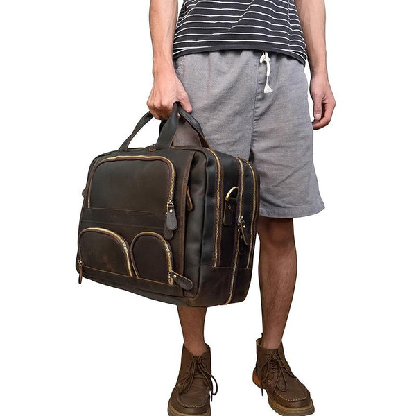 Brown Leather Mens 16 inches Laptop Work Bag Handbag Briefcase Shoulder Bags Business Bags For Men