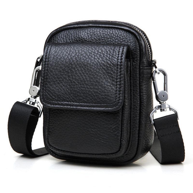 Leather Mens Cell Phone Holster Belt Pouch Mens Waist Bag Shoulder Bag for Men