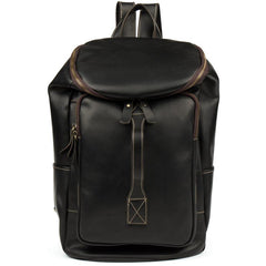 Black Fashion Mens Leather 15-inch Computer Barrel Backpack Brown Travel Bucket Backpacks School Backpacks for men
