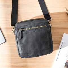 Black Mini Leather Mens Phone Bag Black Small Postman Bag Messenger Bags Side Bag for Men