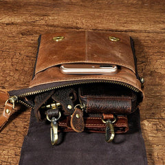 Mens Leather Small Side Bags COURIER BAG Waist Pouch Holster Belt Case Belt Pouch for Men