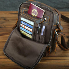 Casual Leather Brown Mens Vintage Small Side Bag Vertical Messenger Bag Shoulder Bags For Men