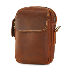 Cool Vintage Dark Brown Leather Mens Belt Pouch Small Side Bag Messenger Bag For Men