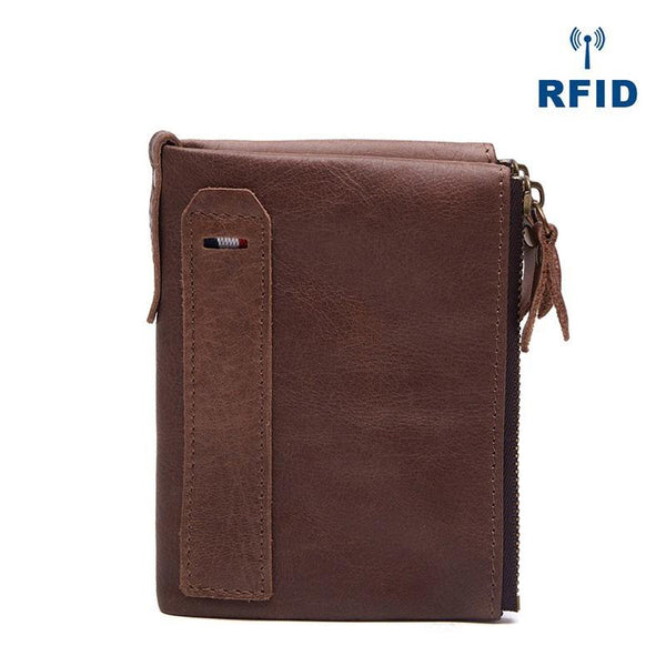 RFID Brown Leather Men's Small Blue Bifold Business Wallet Black Slim billfold Wallet Coin Purse For Men