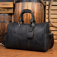 Cool Brown Leather 16 inches Black Shoulder Weekender Bag Travel Bags Duffle luggage Bag for Men