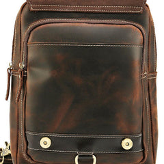 Cool Leather Coffee Mens Backpack Vintage School Backpack Laptop Backpack for Men