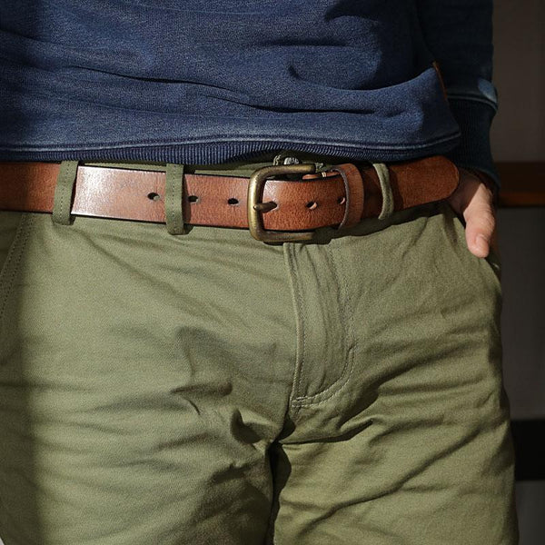 Cool Genuine Leather Vintage Simple Leather Belt Mens Khaki Belt Men Brown Leather Belt for Men
