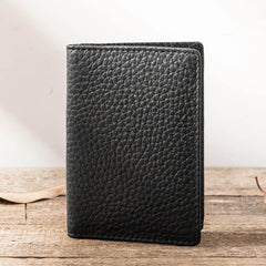 Black Leather Mens Small Card Wallet License Wallet Slim Bifold Driving License Wallet for Men
