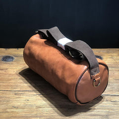 FASHION BROWN LEATHER MEN Small Side Bags Barrel MESSENGER BAG BLACK Bucket Bag Postman Bag FOR MEN