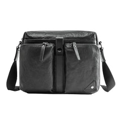Black Cool Leather Mens 13 inches Side Bag Messenger Bags Black Courier Bags Postman Bag for Men