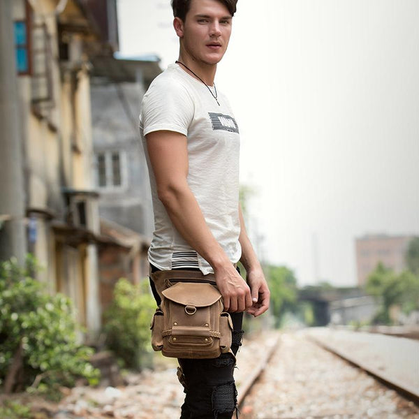 Cool Brown Leather Mens Fanny Pack Khaki Waist Bags Belt Tool Bag Hip Pack Belt Bag Bumbag for Men