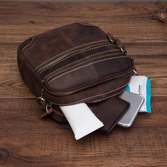 Coffee Leather Mens Small Messenger Bag Cool Mini Side Bag Belt Bag for men