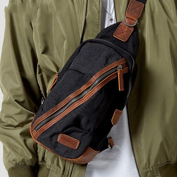 Black Canvas Sling Backpack Men's Sling Bag Green Chest Bag Canvas One shoulder Backpack For Men