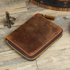 Brown Cool Leather Mens billfold Wallet Zipper Trifold Card Small Wallet for Men