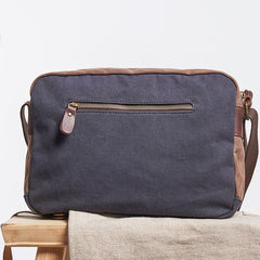 Mens Leather Canvas Gray Cool Messenger Bag Side Bag Shoulder Bag for Men