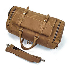 Large Retro Leather Men Barrel Overnight Bags Travel Bags Weekender Bags For Men