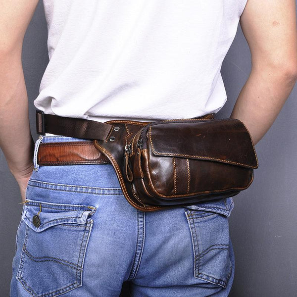 Brown Leather Fanny Pack Men's Black Chest Bag Hip Bag Vintage Waist Bag For Men