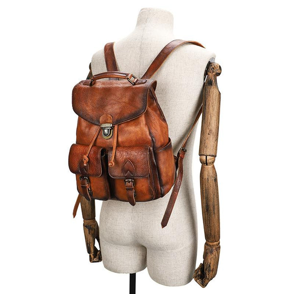 Casual Brown Mens Leather 13 inches School Backpack Satchel Backpack Brown Computer Backpack For Men