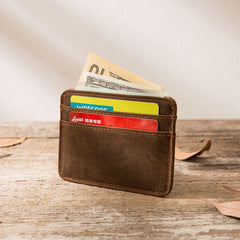 Mens Leather Slim Cards Holder Front Pocket Wallets Card Wallet for Men