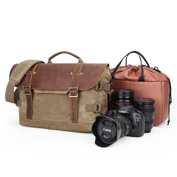 Canvas Leather Mens 14'' CANON CAMERA Messenger Bag NIKON CAMERA Side BAG DSLR CAMERA BAG