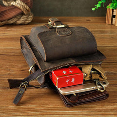 Small Mens Leather Belt Pouch Side Bag Belt Case Waist Pouch Holster for Men
