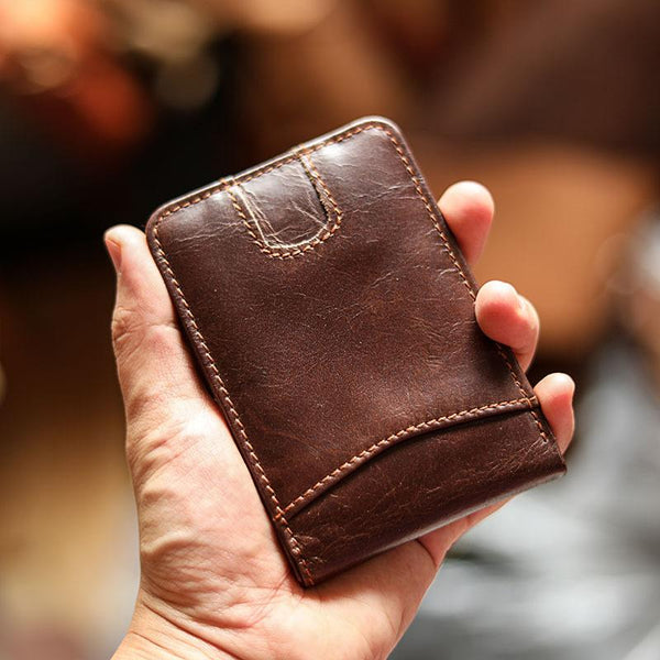 Cool Black Leather Mens Card billfold Wallet Bifold SMall License Wallet Brown Front Pocket Wallet For Men