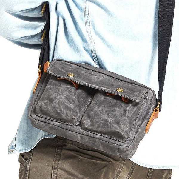 Gray Waxed Canvas Mens Casual Shoulder Bag Messenger Bags Casual Courier Bags for Men